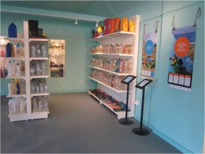 A section of the exhibition with posters and the Super-M-Art installation at Birling Gap Visitor Centre.